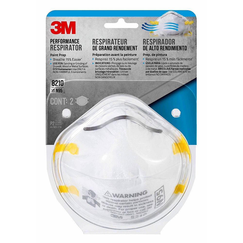 3M Appareil de protection respiratoire grand rendement 8210P2-DC 3M(MC), prép. peinture, N95, 2/paquet