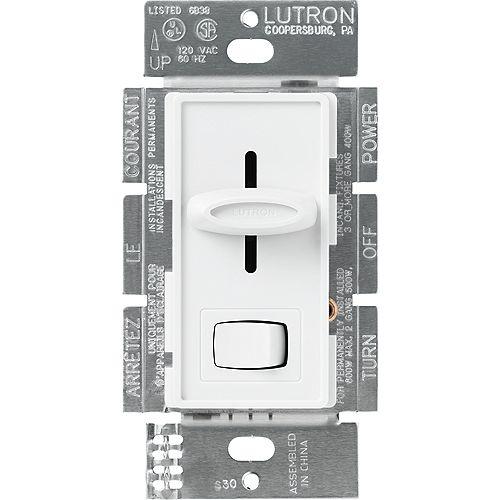 Lutron Skylark Gradateur magnétique unipolaire basse tension de 450 watts, blanc