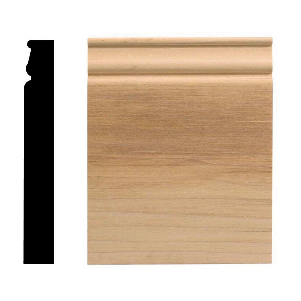 Ornamental Mouldings Socle colonial, 6 1/2 po x 8 po, bois franc blanc