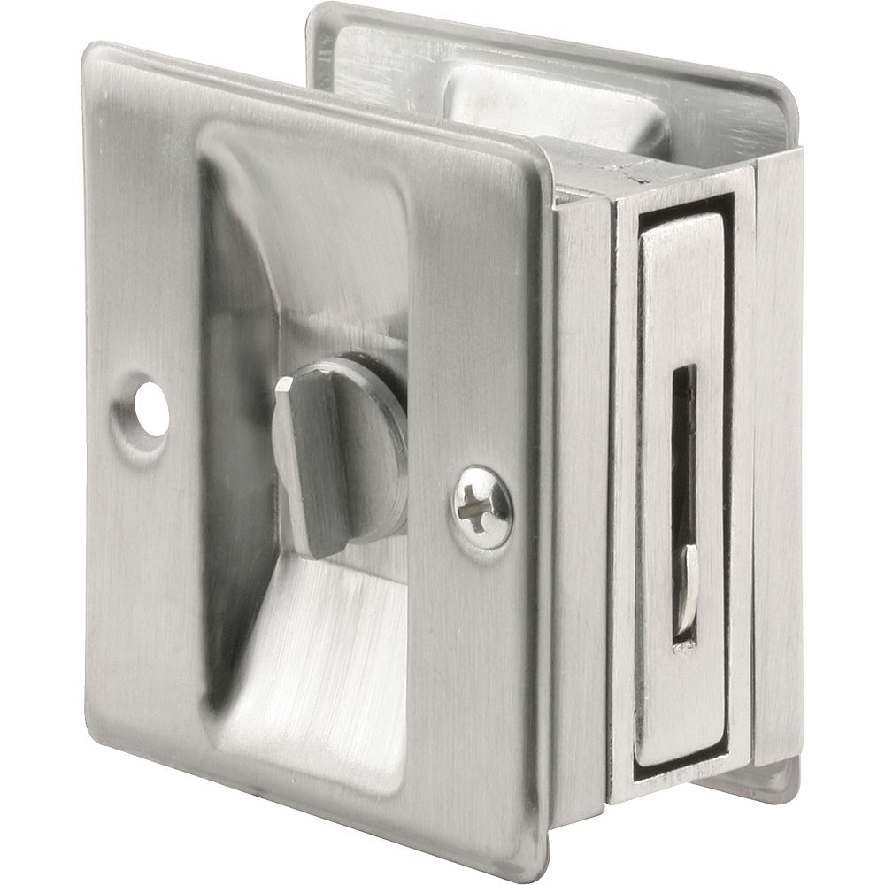 Prime-Line 2-3/4 in. Satin Chrome Door Lock and Pull, Adjustable to fit 1-3/8 in. - 1-3/4 in. Thick Doors