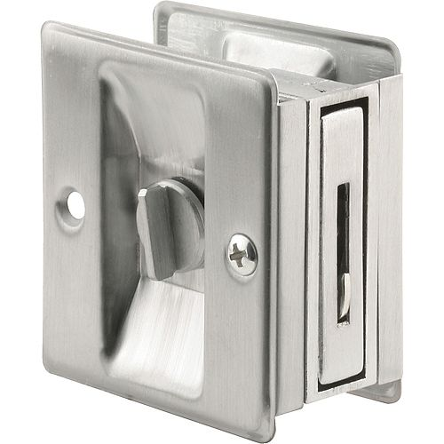 2-3/4 in. Satin Chrome Door Lock and Pull, Adjustable to fit 1-3/8 in. - 1-3/4 in. Thick Doors