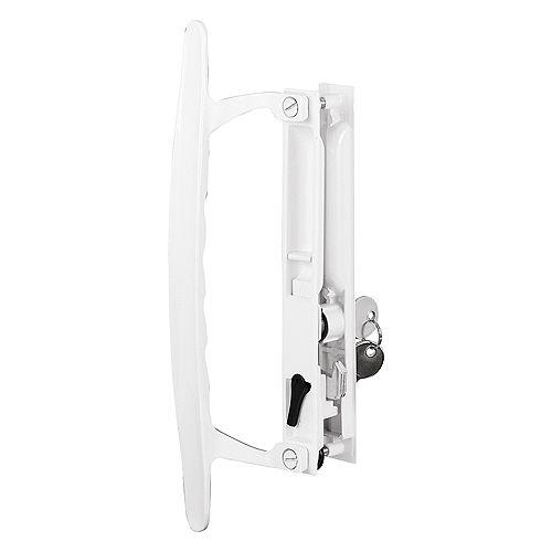 Sliding Glass Door Handle Set, 6-5/8 in., Diecast, Hook Style, Flush Mount, Keyed