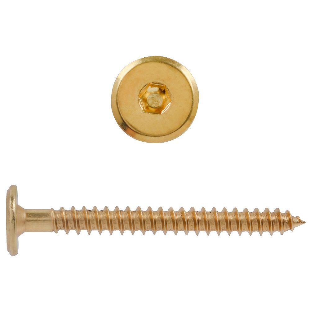Paulin M7-1.0 x 2-3/4 pouces Connecteur à joint hexagonal Vis à bois plaquée laiton