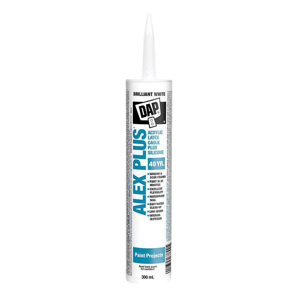 Dap Alex Plus 300 Ml White Acrylic Latex Caulk With Silicone The Home Depot Canada