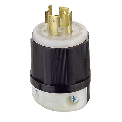 20 Amp Lock Plug 125/250V, Black And White
