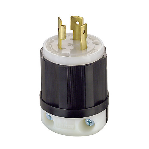 20 Amp Locking Plug 125 Volt, Black And White