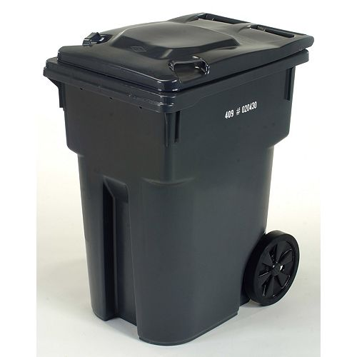 95 GAL Charcoal Wheeled Cart with 12-inch Wheels