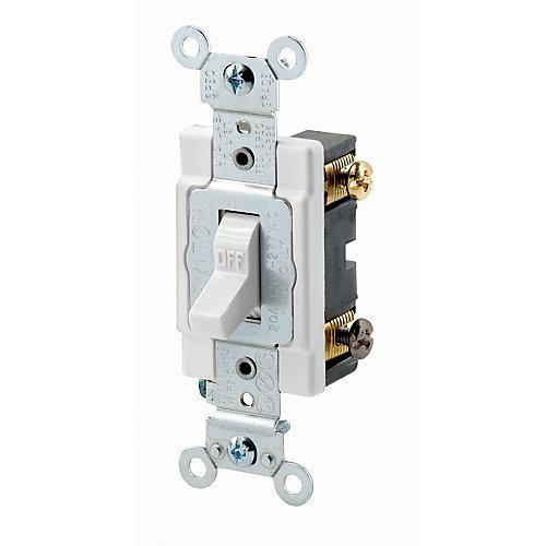 2 Pole Switch 20 Amp  120/277v , White