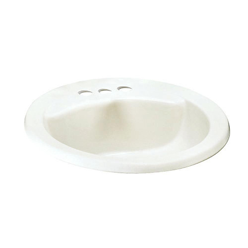 Cadet Drop-In Oval Self-Rimming Sink Basin  with Front Overflow in White
