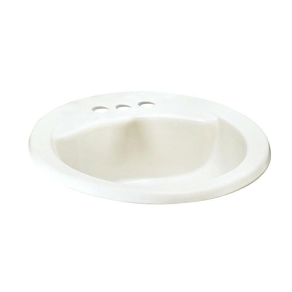 American Standard Cadet Drop-In Oval Self-Rimming Sink Basin with Front Overflow in White