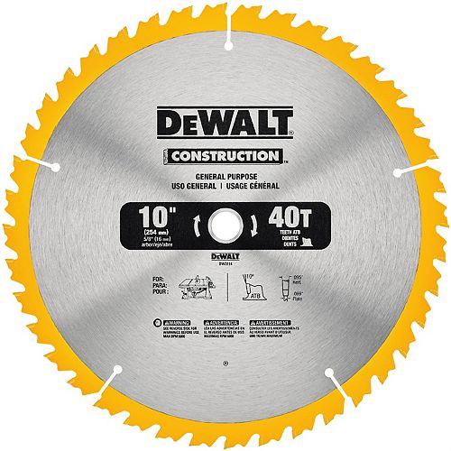 10-inch 40-Tooth Carbide Saw Blade