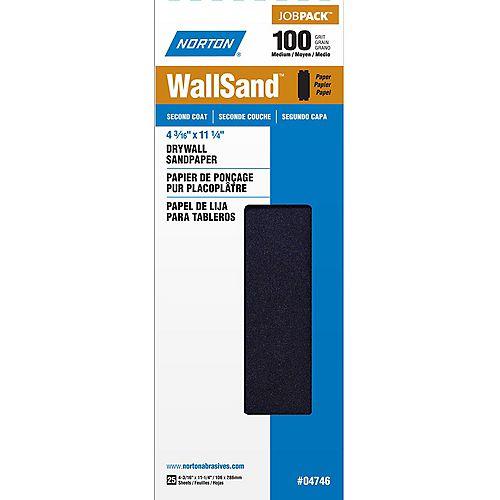 po Feuilles de ponçage pour cloison sèche WallSand 4-3/16 pix11-1/4 pi Grain Moyen-100 Emb de 25