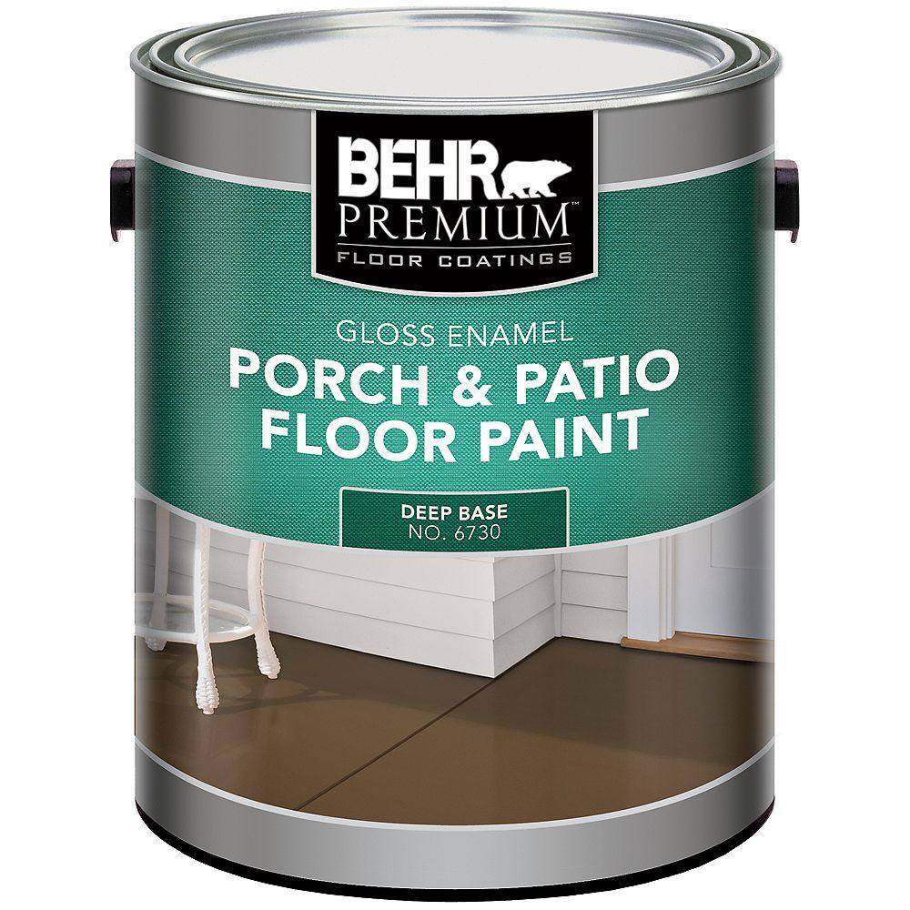 Behr Premium Behr Premium Revêtements De Planchers Peinture Intérieure/Extérieure Pour Planchers - Galerie & Patio - Émail Brillant - Base Foncée, 3,43 L