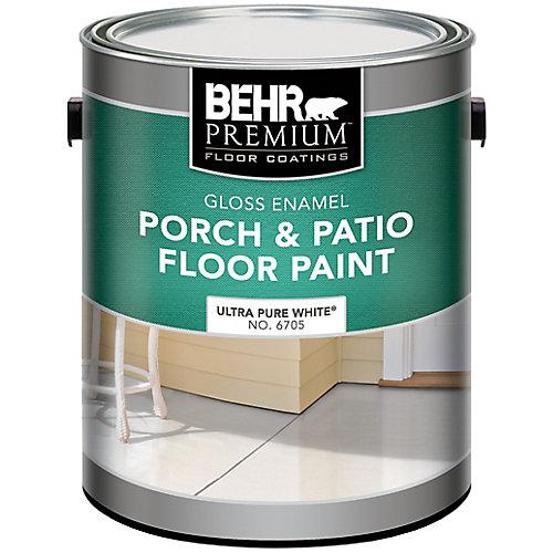 BEHR PREMIUM Peinture Pour Planchers Galerie & Patio - Émail Brillant, Blanc Ultra Pur, 3,79L