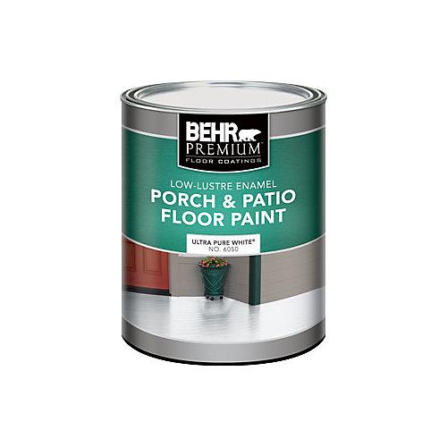 PREMIUM Low-Lustre Enamel Porch & Patio Floor Paint, Ultra Pure White, 946 mL