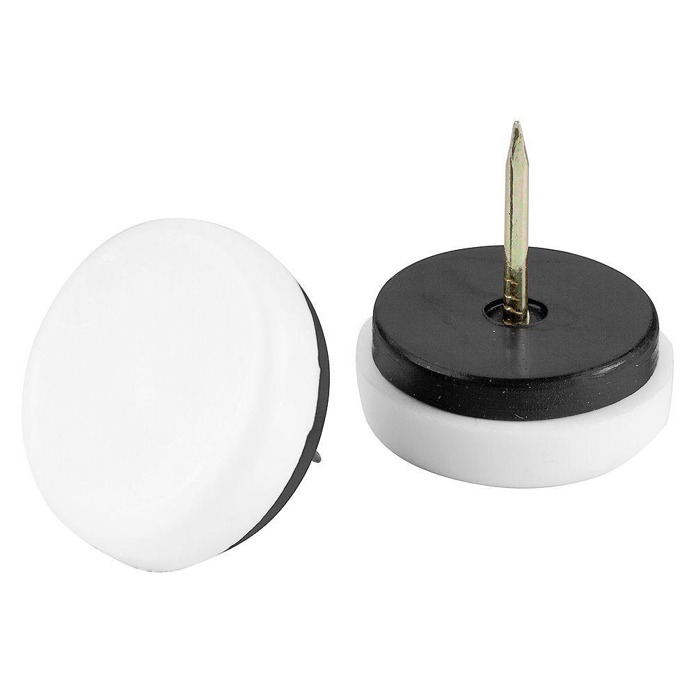 Everbilt Patin coussiné de 38mm à clou en plastique blanc, paquet de 4