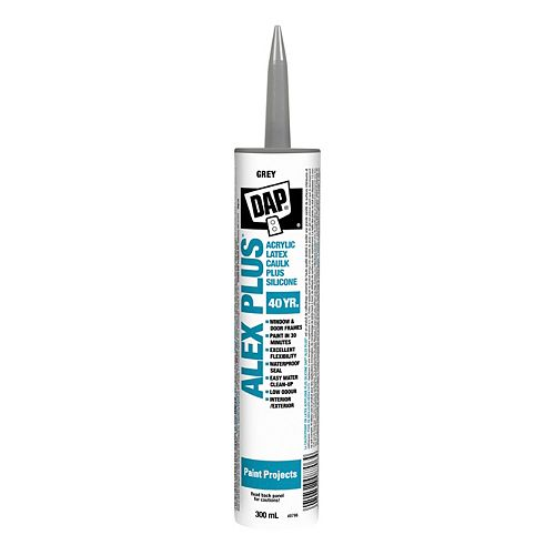 DAP Alex Plus Gray Acrylic Latex Caulk with Silicone - 300 mL