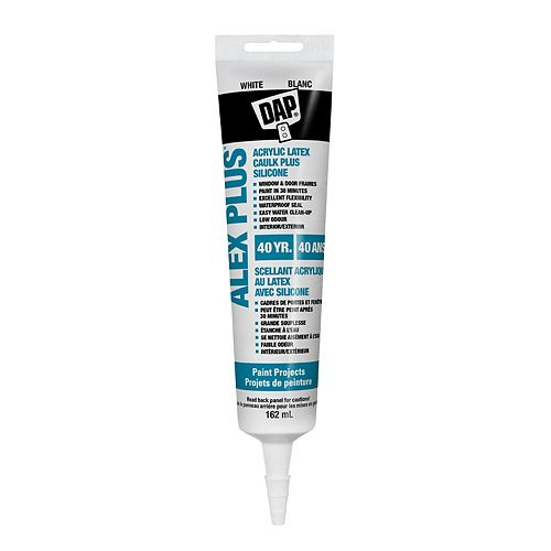 Alex Plus White Acrylic Latex Caulk with Silicone - 162 mL Tube