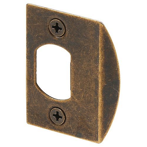 Prime-Line Antique Brass Plated, Dead Latch Door Strike (2-pack)