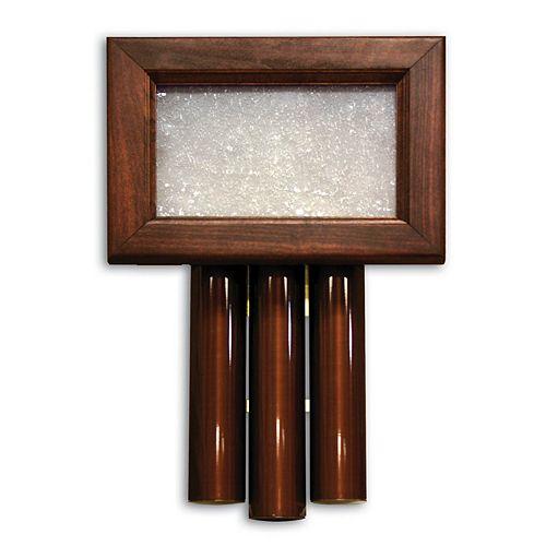 Carillon de porte câblé à boîtier au fini acajou et longs tubes traditionnels au fini bronze à ponçage à l'huile