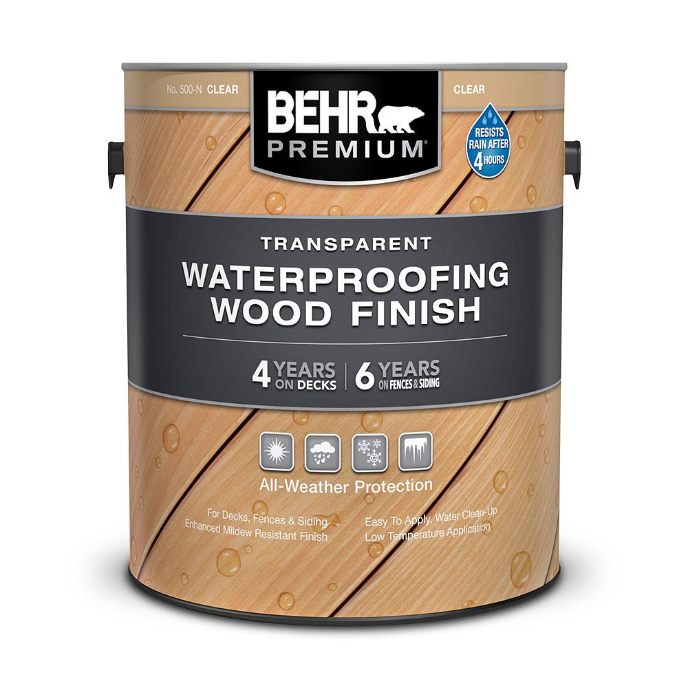 Behr Premium Transparent Waterproofing Wood Finish - Clear No. 500-N, 3.79L
