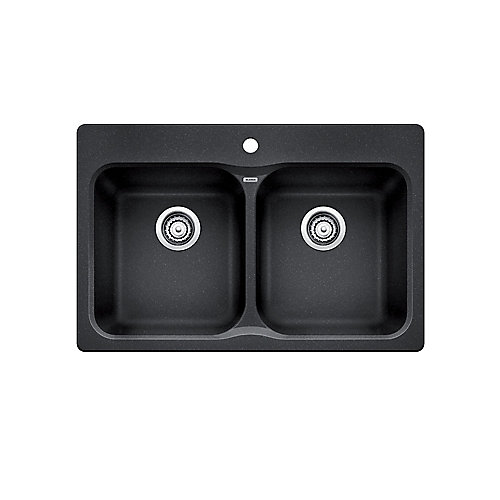 VISION 210, Equal Double Bowl Drop-in Kitchen Sink, SILGRANIT Anthracite