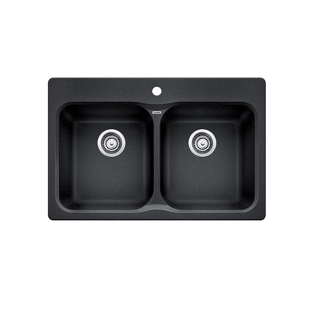 Blanco VISION 210, Equal Double Bowl Drop-in Kitchen Sink, SILGRANIT Anthracite