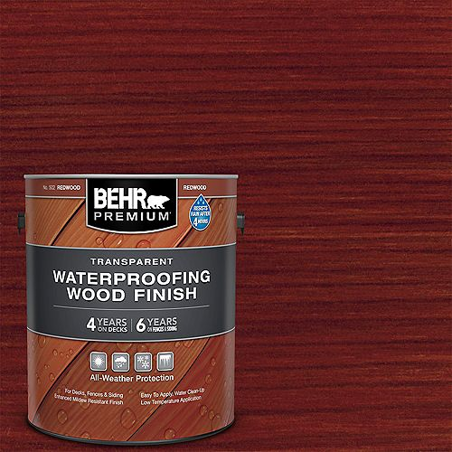 Transparent Waterproofing Wood Finish - Redwood No. 502, 3.79L