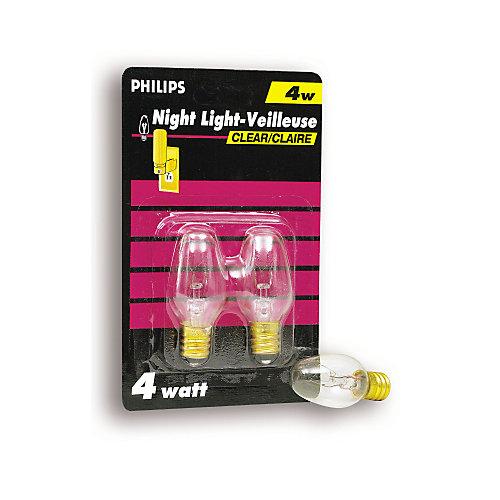 Lampe veilleuse claire à petit culot, 4 W, 2/emballage