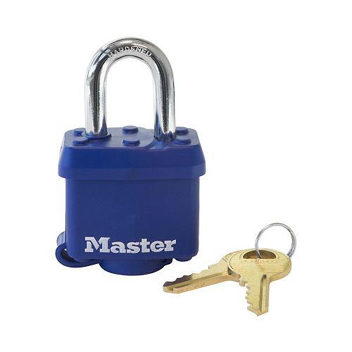 Master Lock Cadenas en acier laminé à goupilles avec protection thermoplastique de 40mm de large, noir, s'entrouvrant