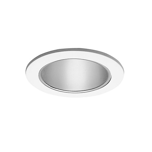 Specular Clear Reflector Cone with Satin White Trim Ring-4 Inch Aperture