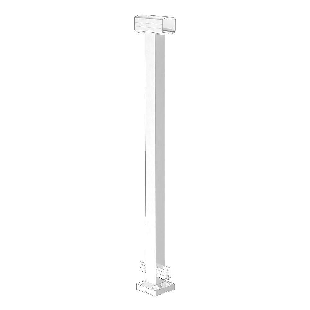 RailBlazers Poteau central de rampe en aluminium - blanc - 42 po