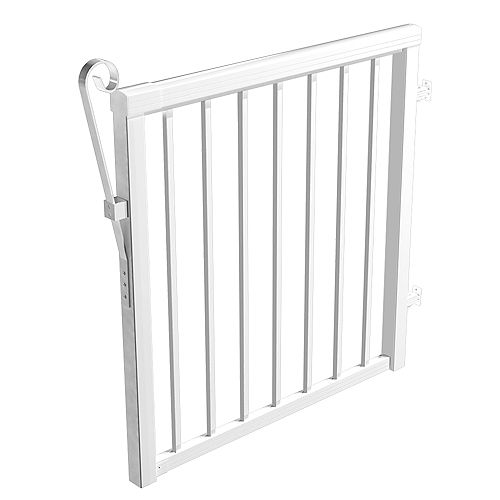 RailBlazers 42-inch Aluminum Picket Gate in White with 5/8-inch Pickets