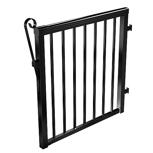 42-inch Aluminum Picket Gate in Black with 5/8-inch Pickets