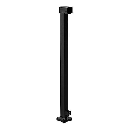 RailBlazers Poteau d'extrémité de rampe en aluminium - noir - 42 po