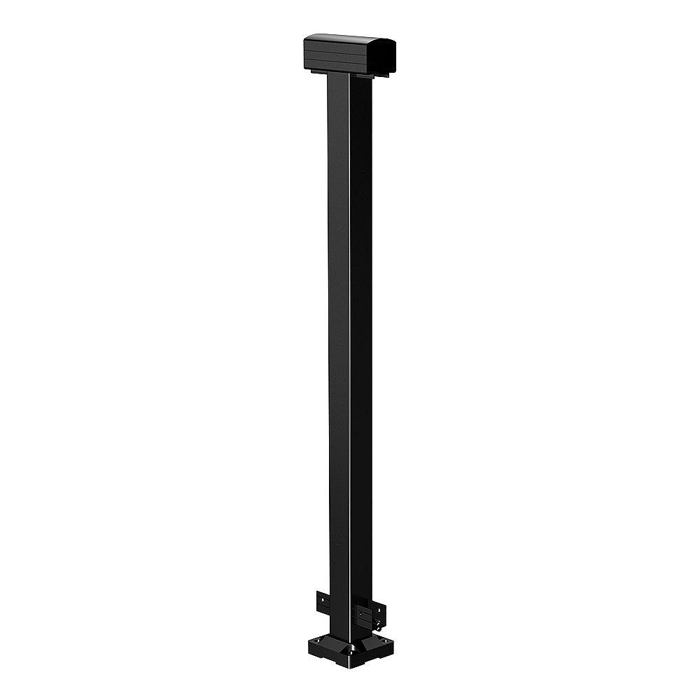 RailBlazers 42-inch Aluminum Railing Mid Post in Black