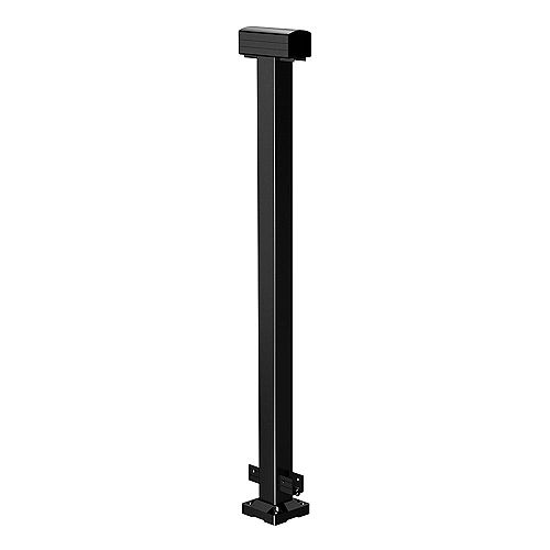 42-inch Aluminum Railing Mid Post in Black
