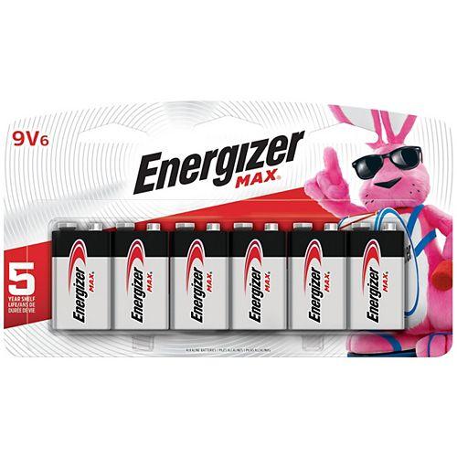 Energizer Energizer MAX Alkaline 9 Volt Batteries, 6 Pack