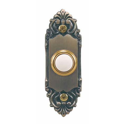 Hampton Bay Wired Lighted Door Bell Push Button, Antique Brass