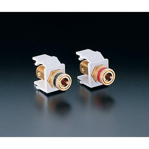 Snap-In Module, Binding Post Jacks, 1 pair, white