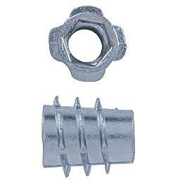1/4-20 x13 mm Écrou à insert lisse Filet grossier Plaqué zinc
