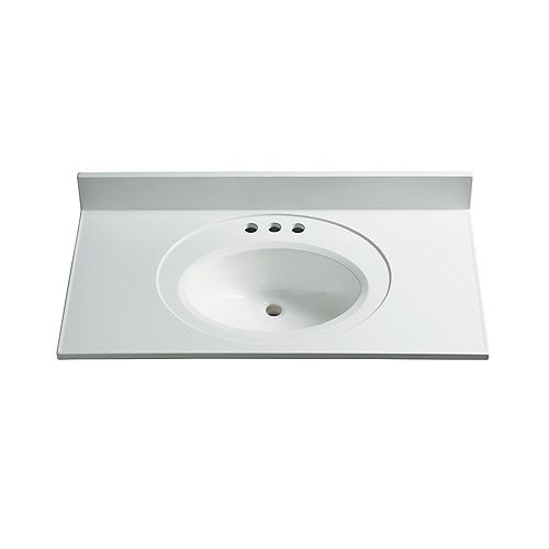 25-Inch W x 22-Inch D Classic Marble Vanity Top in White