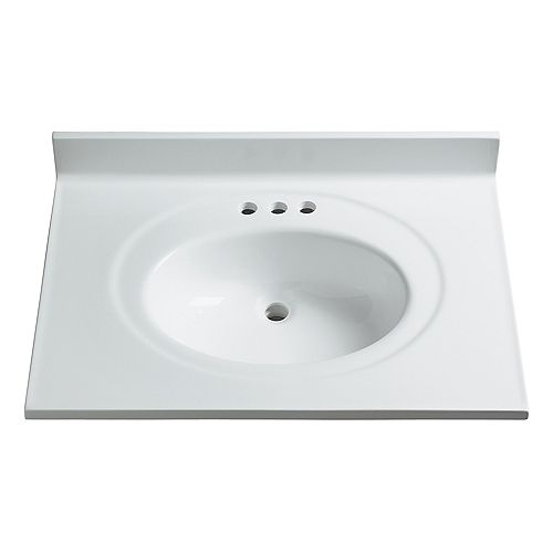 31-Inch W x 22-Inch D Classic Cultured Marble Vanity Top in White