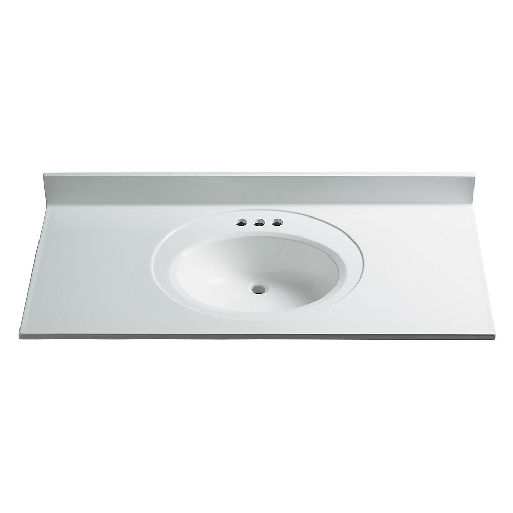 Magick Woods 49-Inch W x 22-Inch D Classic Cultured Marble Vanity Top in White