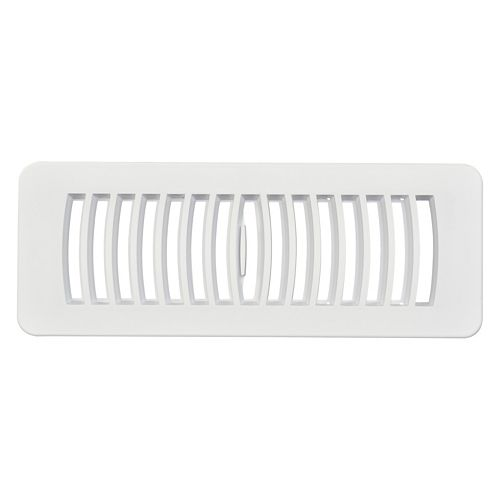 3 inch x 10 inch Plastic Floor Register - White