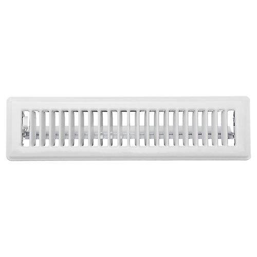 2.25 inch x 12 inch Floor Register - White