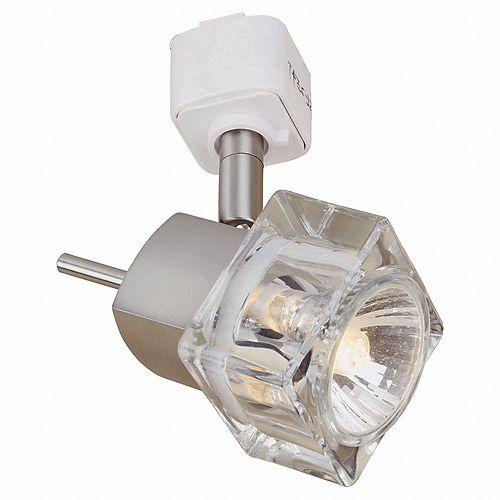 Rail d'éclairage avec projecteur GU-10 en forme de cube de glace, fini nickel brossé