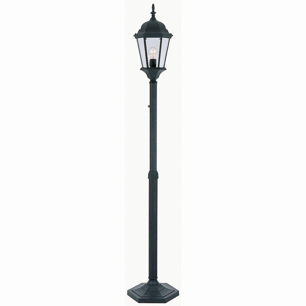 Hampton Bay Lampadaire d'extérieur réglable noir, à une ampoule, avec diffuseur en verre biseauté transparent