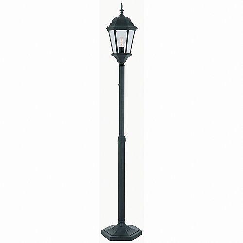Lampadaire d'extérieur réglable noir, à une ampoule, avec diffuseur en verre biseauté transparent