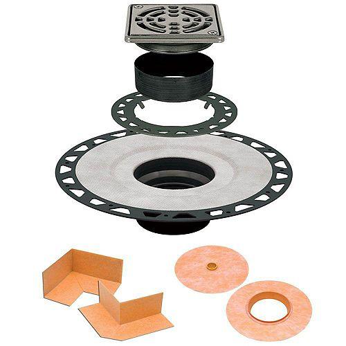 Ensemble de drain 10cmx 10cm (4pox 4po) en ABS avec grille en acier inoxydable Kerdi